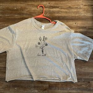 Striped crop tee with floral design